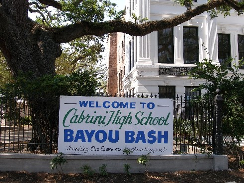 Cabrini High School (on Moss Street in Faubourg St. John) meets the Bayou.
