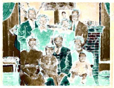 Impressionistic images of a family group whose parents entered the U.S. through the Port of New Orleans.