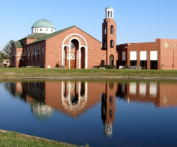 The Greek Orthodox Cathedral on Robert E. Lee Boulevard, along Bayou St. John, in the Gentilly neighborhood.