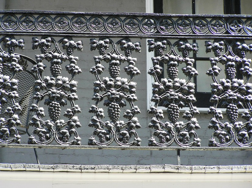 Detail of balcony ironwork, a part of the iconic architecture of New Orleans.