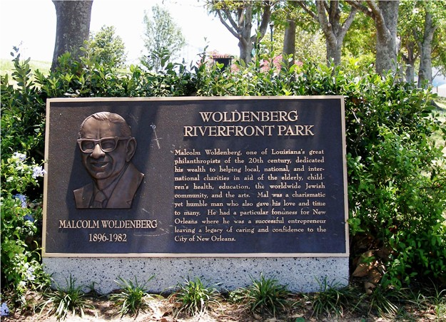 Woldenberg Riverfront Park, by the French Quarter.  (It is basically adjacent to the spot where we got on the John James Audubon for the WESS cruise.)  Named for Malcolm Woldenberg, a local Jewish entrepreneur and philanthropist.