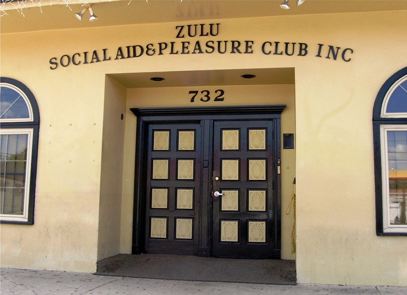 The headquarters of the Zulu Social Aid and Pleasure Club (on Broad Street, in Mid-City), one of many such organizations that have supported and bonded together members of the African-American community in New Orleans since the 19th century.  Zulu, one of the most prestigious, is famous for organizing the Mardi Gras Day Zulu Parade.